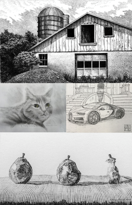 """Top: """"Remnant"""" by Stacy Topjian Searle, Pen and Ink   Middle Left: """"Green Eyed Cat""""  by Tami Sciola-Borelli, Pencil on paper   Middle Right: """"Chiron"""" by Damien Kane, Pen  and Ink   Bottom: """"Piriform Breakdown"""" by Carmen J. Verdi, Jr., Pencil on paper"""