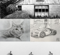 "Top: ""Remnant"" by Stacy Topjian Searle, Pen and Ink   Middle Left: ""Green Eyed Cat""  by Tami Sciola-Borelli, Pencil on paper   Middle Right: ""Chiron"" by Damien Kane, Pen  and Ink   Bottom: ""Piriform Breakdown"" by Carmen J. Verdi, Jr., Pencil on paper"
