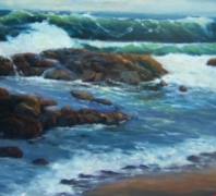 Acadia Surf and Rocks by Dick Fischer, Oil on Cavas, 18 x 24